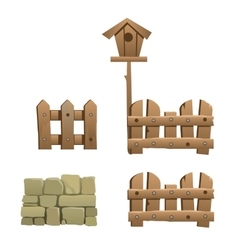 Fragments of wooden and brick fence with birdhouse vector image