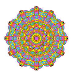 Abstract round mandala coloring book colored vector