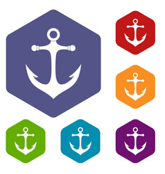 Anchor icons set hexagon vector