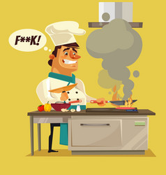 Angry sad bad chef character burn food vector
