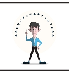 Businessman and icons set vector image vector image