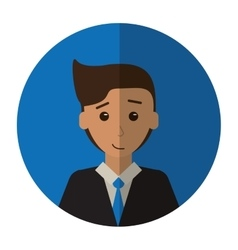 Cartoon young man with suit tie employee shadow vector