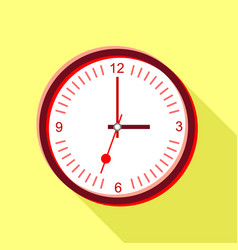 Clock face with red numbers icon flat style vector