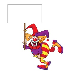 clown holding a blank sign vector image vector image