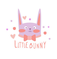 Cute cartoon little bunny colorful hand drawn vector