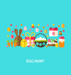 Egg hunt greeting card vector