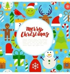 Flat merry christmas greeting vector