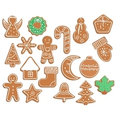 Gingerbread cookies on white background Snowflake vector image