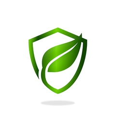 Green leaf shield ecology protection logo vector