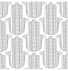 Hamsa hand black and white seamless pattern for vector