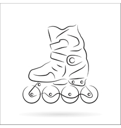 Hand drawn roller skate over white vector image