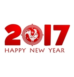 Happy New Year 2017 greetings with Rooster symbol vector image vector image