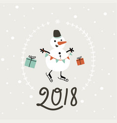 happy new year 2018 card simple vector image