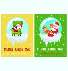 Happy new year merry christmas poster santa elf vector