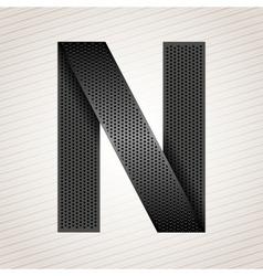 Letter metal ribbon - N vector image vector image