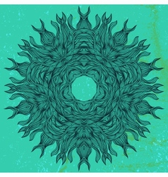 Mandala design in black on aqua green vector