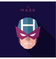 Mask superhero burgundy strict hero to flat design vector
