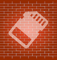 memory card sign whitish icon on brick vector image vector image