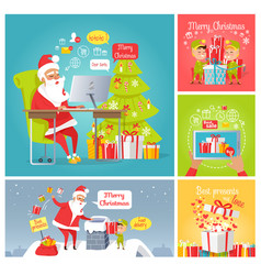 Merry christmas dear santa fast delivery presents vector