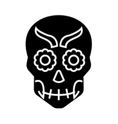 mexican skull icon black vector image