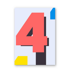 Number 4 poster vector