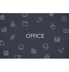 Office thin line icons vector