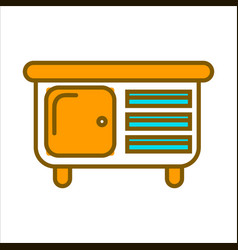 orange commode with small drawers and big shelf vector image vector image