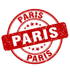 Paris red grunge round vintage rubber stamp vector