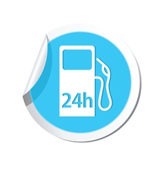Petrol station 24h blue label vector