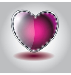Pink heart shaped glass button on valentine vector