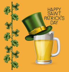 Poster saint patricks day with beer mugs with top vector