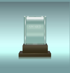 realistic glass or crystal prize rectangle vector image vector image