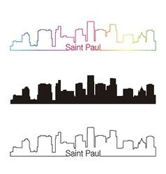 Saint paul skyline linear style with rainbow vector