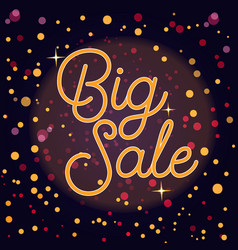 sale banner with text and bokeh lights vector image vector image