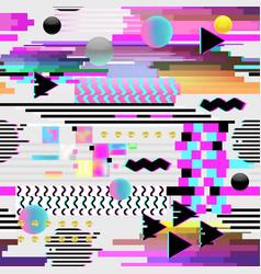 Seamless pattern glitch design cyberpunk digital vector
