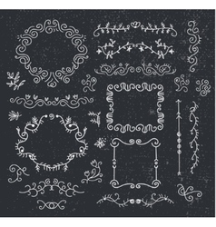 set of hand drawn vintage dividers frames vector image