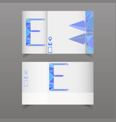 Set of two business card with letter e separated vector