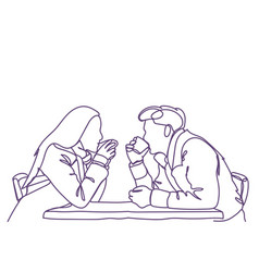silhouette couple sit at cafe table drinking vector image