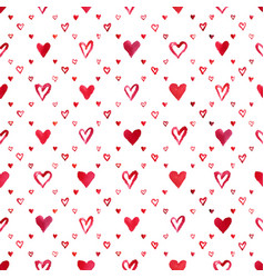 Watercolor hearts pattern vector