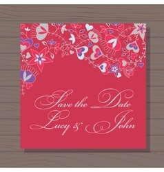 Wedding invitation with hearts and flowers on vector image