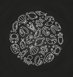White sealife linear icons round concept vector