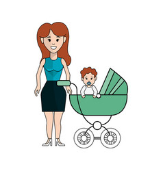 Woman with long hair and her baby icon vector