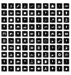 100 dessert icons set grunge style vector