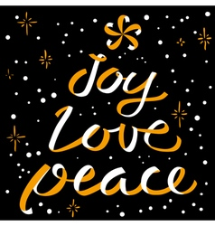 Joy love peace christmas calligraphic lettering vector