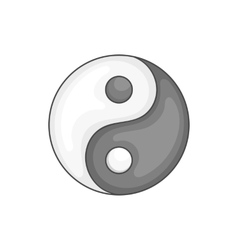 Yin yang icon black monochrome style vector