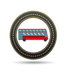 red london bus circle road way design vector image