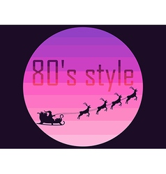 Santa in a sleigh in the style of the 80s vector