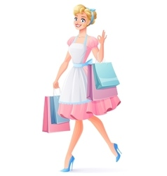 Smiling housewife walking with shopping bags vector