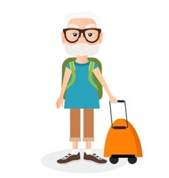 Grandfather with a packsack travel travelling vector
