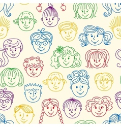 Seamles children faces pattern vector image